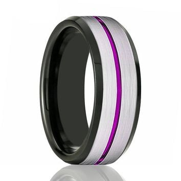 SWOOSH Men's Black & Silver Tungsten Engagement Ring with Purple Grooved Center & Beveled Edges - 8MM