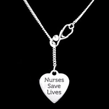 Nurses Save Lives Nurse Gift RN LPN NP Stethoscope Lariat Graduation Necklace