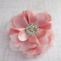 Vintage Pink Flower Hair Clip, Bridal Hair Flower, Wedding Accessories by Flower Couture
