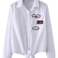 White Patch Detail Tie Front Long Sleeve Shirt
