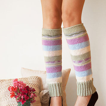 Knit Leg Warmers Knit Boot Socks Adult Legwarmers Womens Striped Leg Warmers Knee High Legwarmers Sage Light Blue Cream Lavender