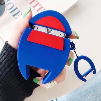 Champion Comme Des Garçon Play Fashion Silicone iPhone Airpods Headphone Case Wireless Bluetooth Headphone Protector Case(No Headphones) Blue