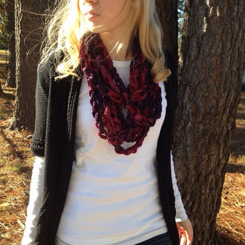 Tango (Wine Red) Crocheted Infinity Chain Scarf, infinity scarf, chain scarf