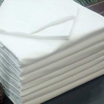 """12 Pack New QUEEN Flat Sheet (90""""X110"""") Bright White T-200 Percale Hotel Linen"""