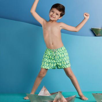 Ondademar Boys Nicky Fit Neon Green Floral Swimshorts