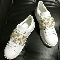 【Louis Vuitton】Rivet Sneakers LV women Fashion casual Flat shoes B-ALS-XZ White Tartan