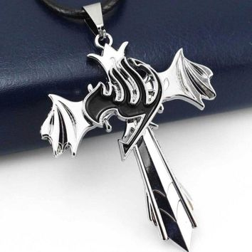 1 Pcs Creative Hot Sale Fairy Tail Guild Marks Silver Cross Wing Pendant Necklace Anime Cosplay Gift Toy Free Shipping