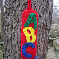 Crocheted Plastic Bag Holder Red ABCs