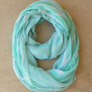 Mint Zig Zag Loop Scarf [4574] - $16.00 : Vintage Inspired Clothing & Affordable Dresses, deloom | Modern. Vintage. Crafted.