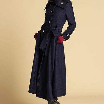 Dark blue coat wool jacket winter coat (475)
