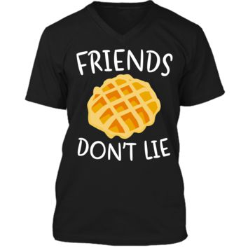 Friends Don_t Lie T-Shirt Funny Waffle Shirt Mens Printed V-Neck T
