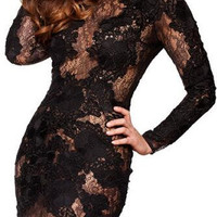 Black Hollow Out Embroidery Bodycon Knee-Length Dress