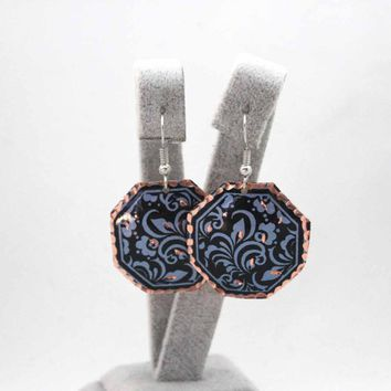 Navy Blue Dangle Earrings with Turkish Ornaments, Copper, Handmade, Boho, Cheap Price, Flower Pattern, Art Nouveau, Ethnic, Oriental Jewelry