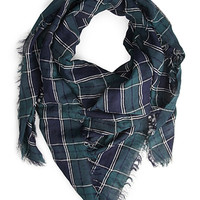 FOREVER 21 Woven Tartan Scarf Navy/Dark Green One