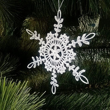Crochet Snowflake #1 Handmade christmas tree decorations Xmas holiday decor Christmas Time New Year ornaments accents Winter Snow presents