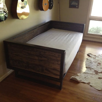 recycled barn wood and steel daybed sofa