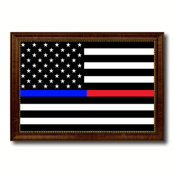 Thin Blue Line Police & Thin Red Line Firefighter Respect & Honor Law Enforcement First Responder American USA Flag Canvas Print with Picture Frame Home Decor Wall Art