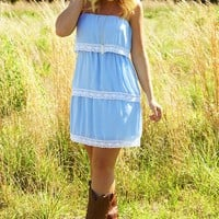 Layer It On Me Dress: Pale Blue - Dresses - Hope's Boutique