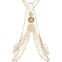 River Island Womens Gold tone coin body harness
