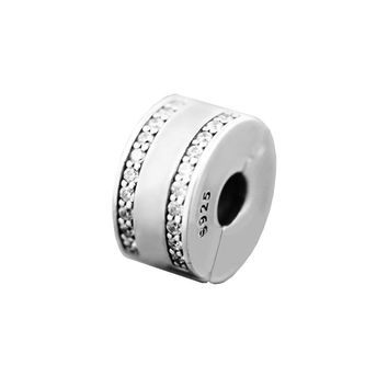 Fits Pandora Bracelets Insignia Clips Silver Beads with Clear CZ 100% 925 Sterling Silver Jewelry DIY Charms Free Shipping
