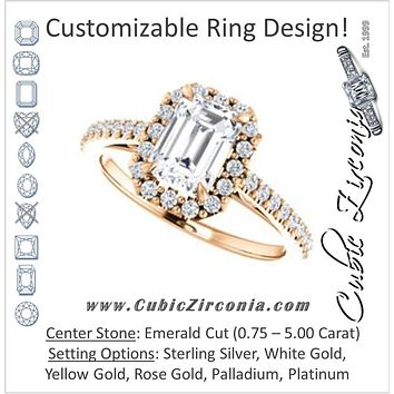Cubic Zirconia Engagement Ring- The Sunshine (Customizable Emerald Cut Halo Design with Vintage Cathedral Trellis and Thin Pavé Band)