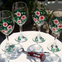 Hand Painted Wine Glasses With Red and White Flowers