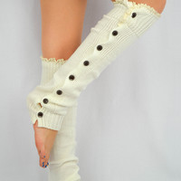 Ivory Leg Warmers Socks Boot Toppers Lace Buttons