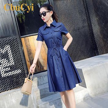 CbuCyi Women Clothing Dresses Vintage Straps Solid Short Sleeve Blue Casual Denim Shirt Dress Ladies Long Jeans Dresses Summer