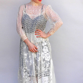 Vintage 1910's Lace Dress High Tea by WildHoneyPieVintage