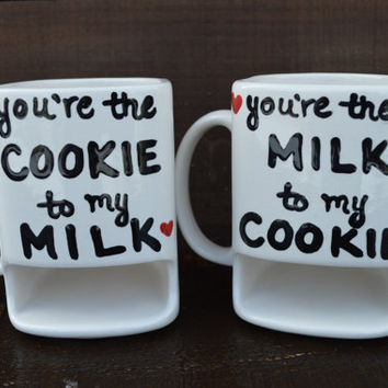 We Belong Together Like Cookies and Milk - His and Hers Ceramic Dunk Mug Set - Ready to Ship