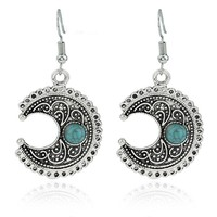 Casual Stone New Moon Pendant Earring