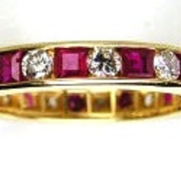 1.80ct Diamond Ruby Eternity Wedding Ring Band 18kt Yellow Gold JEWELFORME BLUE