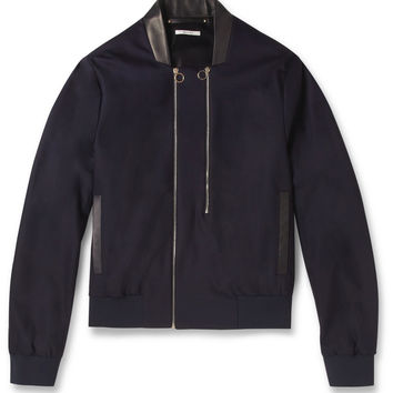 Paul Smith - Leather-Trimmed Lightweight Wool-Blend Bomber Jacket | MR PORTER