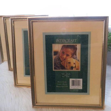 4 Vintage Gold Brass Frames with Sage Green inset ~ Wedding ~ Gallery Wall ~ 8X10 or 5X7