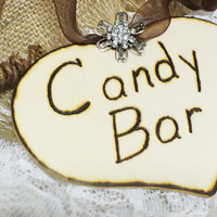 Rustic Wedding Candy Bar Wood Heart With Rhinestone Embellishment DIY Wedding Decor