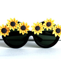 Yellow and Brown Sunflower Tortoise Circle Boho by thedaisies
