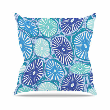 "Jacqueline Milton ""Sea Coral - Blue"" Blue Aqua Throw Pillow"