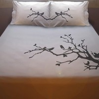 Birds on a Tree Branch DUVET COVER and 2 PILLOWCASES Nature Lovebirds bird leaves blossoms