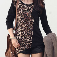 Leopard Print Paneled Long Sleeve T-Shirt