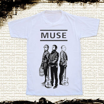 Size M -- MUSE BAND T Shirts Muse T Shirts Alternative Rock T Shirts Unisex T Shirts Women T Shirts White T Shirts Rock Shirts