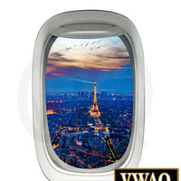 Airplane Window Decal Eiffel Tower City of Paris Vinyl Decal Mural Peel and StickVWAQ-PW11