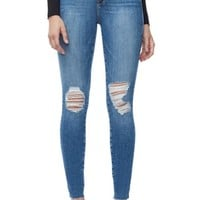 Good American Good Waist Raw Edge Skinny Jeans (Blue 092) (Extended Sizes)   Nordstrom