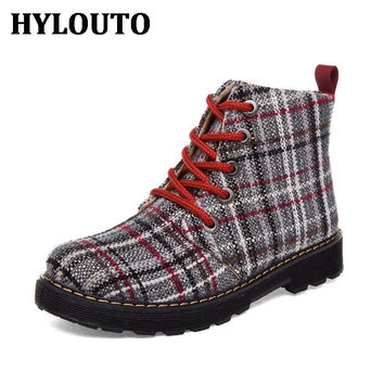Winter Height Increasing Women Boot Plaid Prints Warm Cotton Fabric Shoes Outdoor Walking Mujer Zapatos Martin boots 9M006