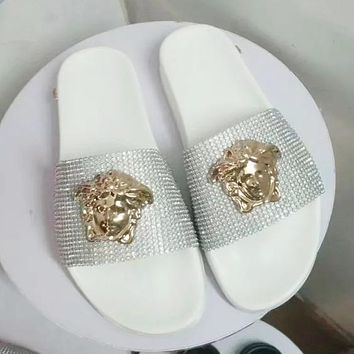Versace Women Fashion Rhinestone Slipper Sandals Shoes