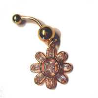 Navel Belly Button Ring Clear Crystal Sun Flower Rhinestones Gold Tone Barbell Naval