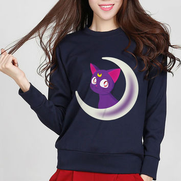 Sailor Moon Inspired Luna Cat Kawaii Harajuku Sweatshirt