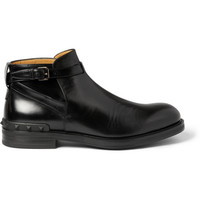 Valentino - Polished-Leather Buckled Ankle Boots | MR PORTER