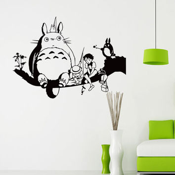 Cartoon Totoro Waterproof Removable Wall Stickers My Neighbor Totoro Vinyl Wall Decal for Kids Room Home Decorative Decoration