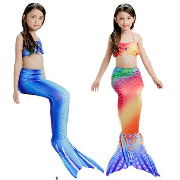 Children Mermaid Tail Costume  Bikini Set Summer Swimsuit Swimming Costume child girl bikini Bathing Suit Beach Swim Wear