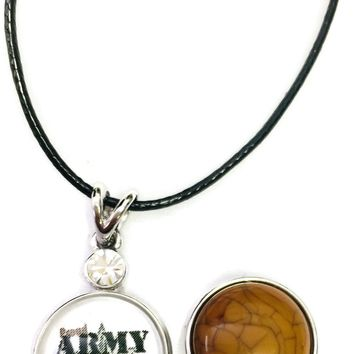 "Proud Army Mom Snap on 18"" Leather Rope Diamond Pendant Necklace W/ Extra 18MM - 20MM Snap Charm"